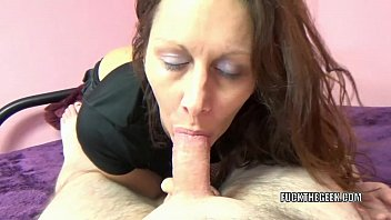 Mature brunette Trisha Delight is blowing a lucky geek