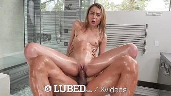 LUBED Teen Slippery Shower Fuck With Oozing Creampie