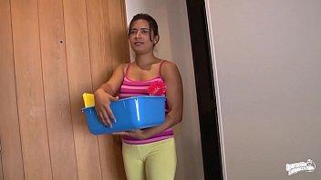 OPERACION LIMPIEZA - Oiled up hard fuck with dirty Latina maid Camila Marin