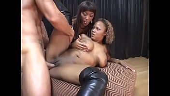 Black hoes share cock Adorable babes with big boobs sharing a stiff cock in epic threesome
