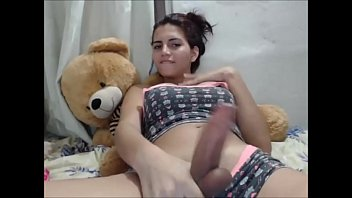 Young tranny strokes her fat dick - homemade.
