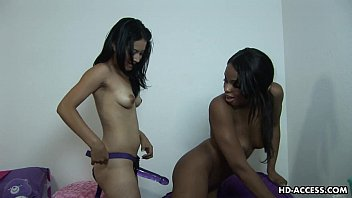 Black bitch gets fucked by her lover strap on style porno izle