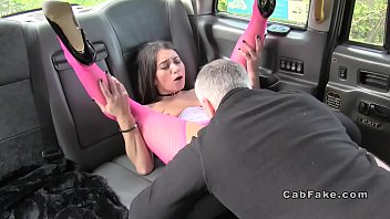 Hottie in pink fishnets anal fucks in cab