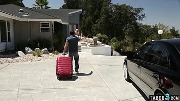 Big boobed blonde MILF traveler fucked hard for a room