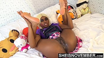 Tiny Little Fanny Innocent Ebony Spinner Young Pussy Rubbed In Mini Skirt With Legs Up And Open , Msnovember Wet Cunt And Booty Closeup HD Sheisnovember