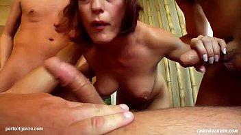 Regina gives blowjob to many guys and gets bukkake
