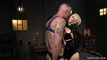 Locking anal harness Milf anal fucks guy in suspension