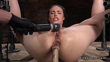 Exposed ass slave fucks with dildo