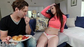 Casey Calvert making breakfast