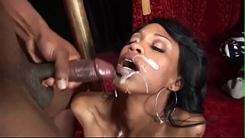 Skinny black pantera with small tits pussy banged right on the stage