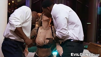 Busty glam hottie DP fucked by two hung black studs