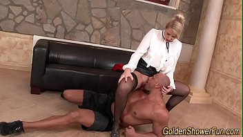 Kinky whore gets peed on