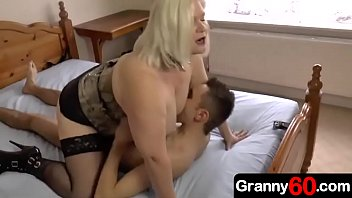Busty mature woman and young boys Horny busty grandma dominates her grandson and fucks him hard