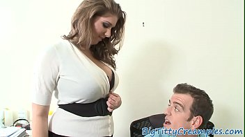 Blowjob secretary - Busty secretary gives perfect titjob