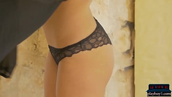 Petite Playboy model Billy Raise gives a hot striptease