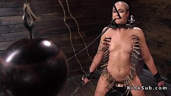 Zippered shaved slave rides Sybian