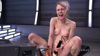 Blonde gangbanged by fucking machines