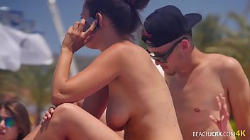 Lesbian Couple Kiss and Lick Nipples on Topless Beach