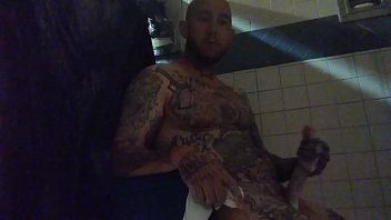 In prison Stroking this Big White Dick in the shower