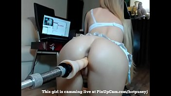 Blonde College Girl Playing With Her Fucking Machine....
