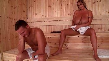 Huge tit milf has sex in the sauna