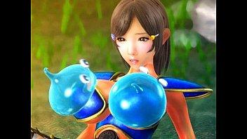 【アニメ】女戦士の爆乳にスライムが張り付いて散々もて遊んでからオマ○コファック