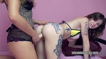 Tattooed coed Indigo Augustine takes a strapon from Lina