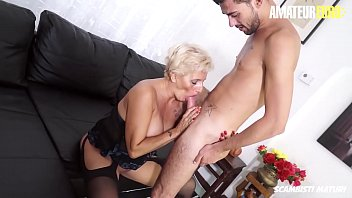 AMATEUR EURO - Delicious Blonde Cougar Goes Hardcore With Young Big Cock Guy (Shadow & Fabry Horse)
