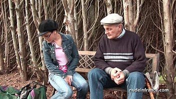 Pretty french teen with nice tits banged by old man Papy Voyeur thumbnail