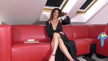 Tight Pussy Hot MILF Without Bra And No Panties Reads About Elon Musk, In A Night Dress Showing Her Sexy Legs And High Heels