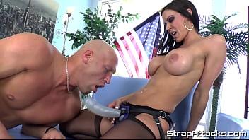 Pegging milf domina disciplines her slave