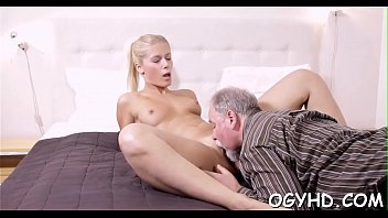 Hot young babe screwed by old boy
