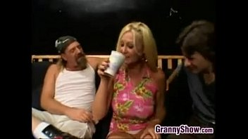 Chubby Blonde Granny Fucked In A Threeway