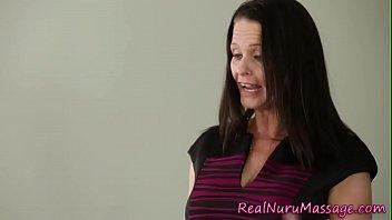 Babe massages and fucks