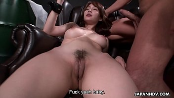Japanese slut, Mikuni Maisaki did it with two guys, uncensored