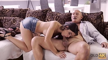 old k naughty brunette tempts old man into drilling her butthole min