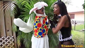Bigbootied black tgirl cockriding easterbunny
