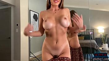 Perfect body MILF Abigail Mac masturbates for us at home