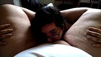 Teen deepthroats fat guy