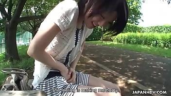 Cute brunette Asian lass sucking a dick in a vam