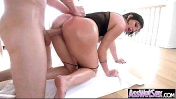 Big Oiled Wet Butt Girl Get Nailed Deep In Her Ass clip-26