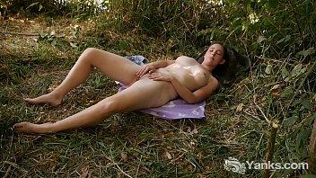 Busty Michelle Masturbating Outdoors