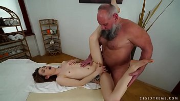 Oldman getting femdom - Older man fucks her younger massage client