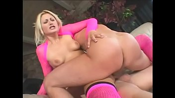 Slutty blonde in pink stockings Staci Thorn gets DP&#039_d by two guys