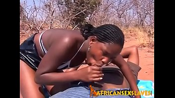 Horny ebony beauty bouncing hard on a dick outdoors