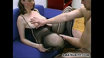 Free thumbs hairy moms cum video Busty and hairy amateur milf blowjob, titjob with cum on tits