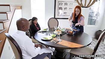 Asian dauther Ember Snow accidentally spills water to her foster dad Will Teil and gave a blowjob to him as punishment then started a 3some with mom.