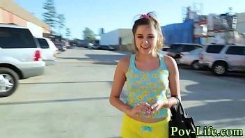 Publicly sucking pov teen