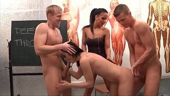 Young brunette loves deepthroat and fucking with two boys