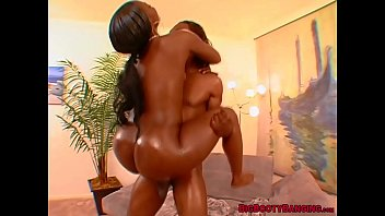 Curvy ebony babe with a big ass blows BBC before hard fuck